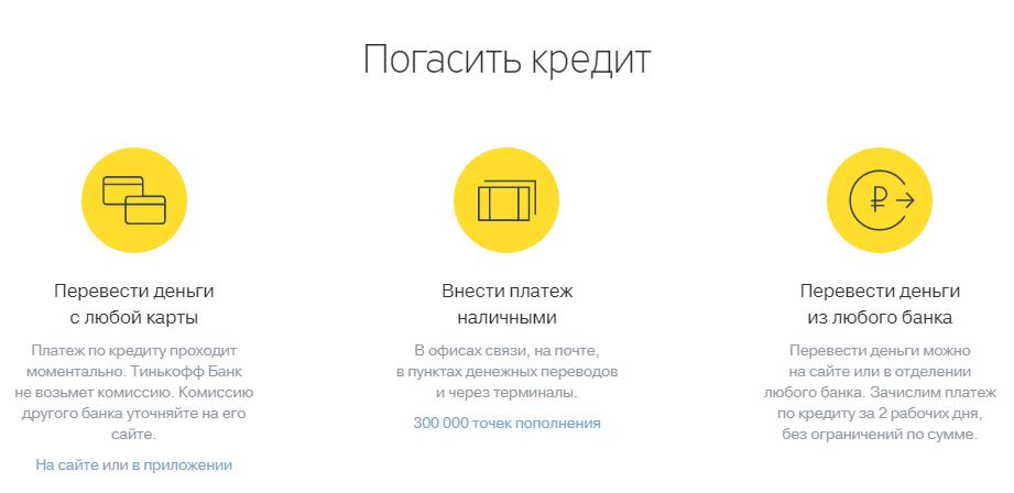 Погашение кредита Тинькофф через интернет банковской картой