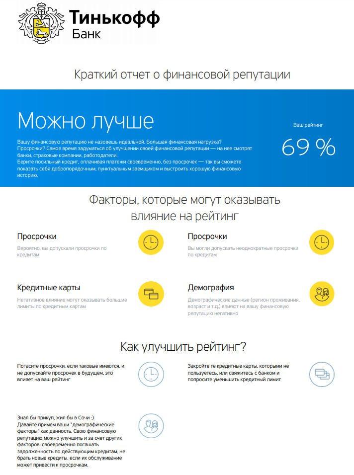 Кредитная история заказанная в Тинькофф Банке